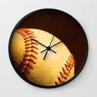 baseball Wall Clocks featuring Baseball by Janice Sullivan