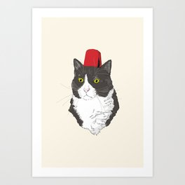 Fez Hat Cat Art Print