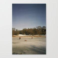 Ice Skaters, Blickling Lake, Norfolk Canvas Print