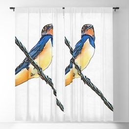 Swallow Bird On A Wire Blackout Curtain