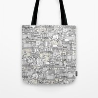 champagne Tote Bags featuring NOTTINGHAM CHAMPAGNE by Sharon Turner