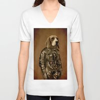 beagle V-neck T-shirts featuring Beagle by Durro