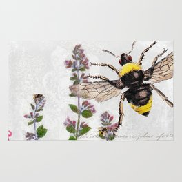Cottage Style Thyme, Bumble Bee, Hummingbird, Herbal Botanical Illustration Rug