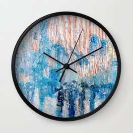 The Avenue in the Rain Painting by Childe Hassam Wall Clock