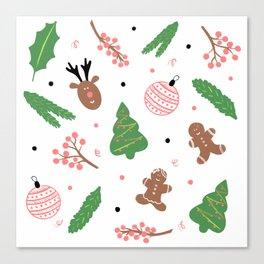 Christmas pattern in pink Canvas Print