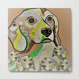 Beagle and Babies Brown Tones Metal Print