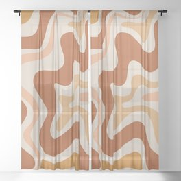 Liquid Swirl Abstract in Earth Tones Sheer Curtain