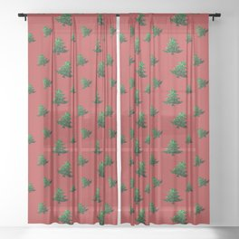 Sparkly Christmas tree green sparkles pattern on Red Sheer Curtain