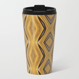 Yellow , Ochre and Brown Diamond Pattern Travel Mug