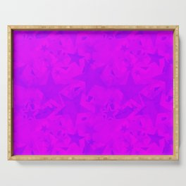 Calm intersecting blurred purple stars on a lilac background. Serving Tray