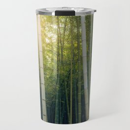Sun shining through Arashiyama Bamboo Forest in Kyoto, Japan Travel Mug