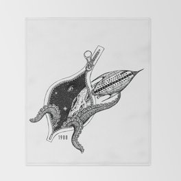Octupus space Throw Blanket