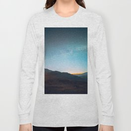 Milky Way Galaxy Star Sky Above Mountain Range Sunset Long Sleeve T-shirt