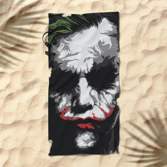 Heath Ledger - The Joker Abstract Movie Poster Design Beach Towel