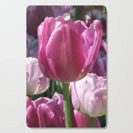 Pink and Purple Tulips Cutting Board