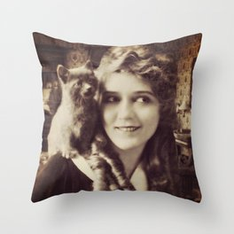 Mary Pickford - Vintage Lady with kitten Throw Pillow