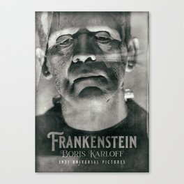 Frankenstein, vintage movie poster, Boris Karloff, horror film, Mary Shelley book cover Canvas Print