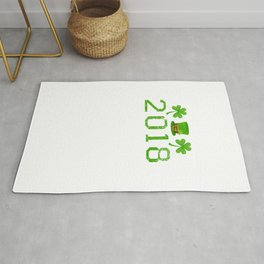2018 Shamrocks And Leprechaun Hat St. Patrick's Day Rug