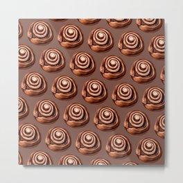 Cinnamon Roll Pattern - Brown Metal Print