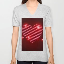 Neon Red EKG Heart Unisex V-Neck
