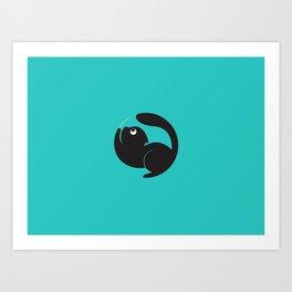 Cute Cat Circle Art Print