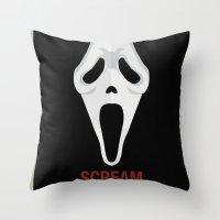 scream Throw Pillows featuring SCREAM by Alejandro de Antonio Fernández