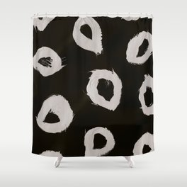 Round, Abstract, White & Black Shower Curtain