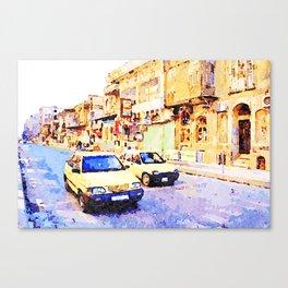 Aleppo: Taxi through the streets of Aleppo Canvas Print