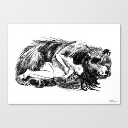 I love my Bear (Black and white) Canvas Print