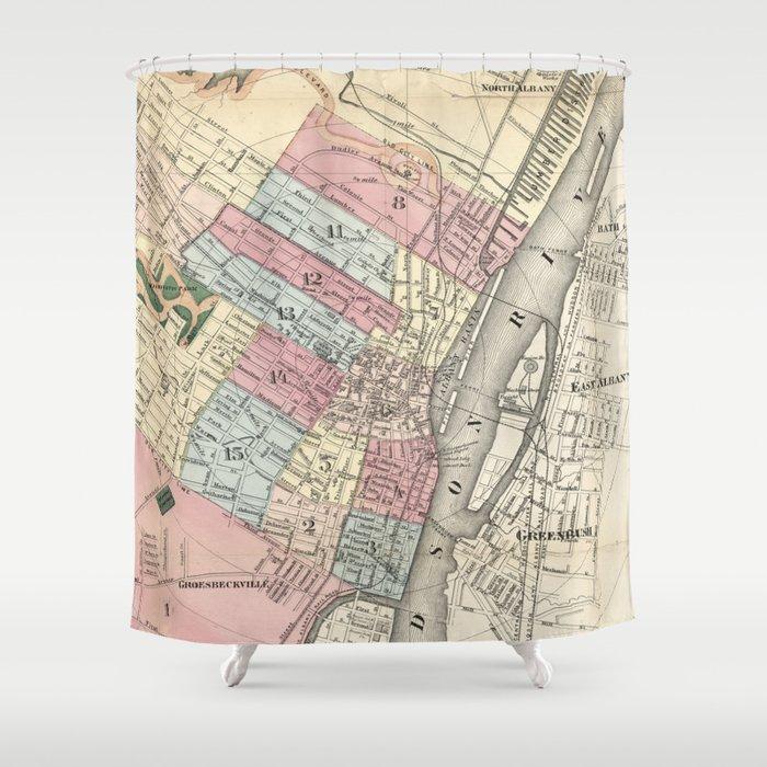 Vintage Map of Albany NY (1874) Shower Curtain by bravuramedia ...