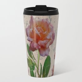 SHABBY CHIC CORAL ANTIQUE PINK ROSES Travel Mug