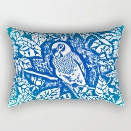 Blue Parakeet In Wreath Lino Cut Rectangular Pillow
