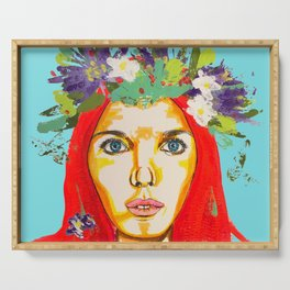 Red haired girl with flowers in her hair Serving Tray