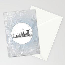 Seattle, Washington City Skyline Illustration Drawing Stationery Cards