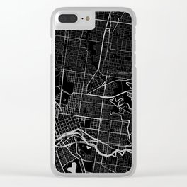 Street MAP Melbourne // Black&White Clear iPhone Case