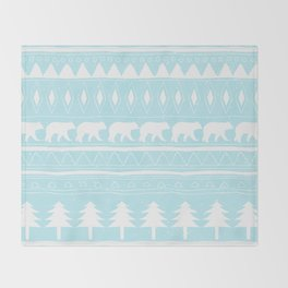 From Bears Winter And Christmas-Cute teal XMas Pattern Throw Blanket