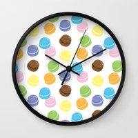 macaron Wall Clocks featuring Macaron Frenzy by April Marcuzzo