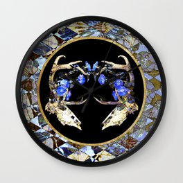 Diamond Pattern Deer Skull and Morning Glory Round Wall Clock