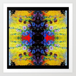 YELLOW GARDEN GOLD BLUE FLOWERS BLACK  PATTERN ART Art Print