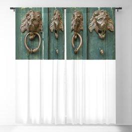Lion heads of precious metal Blackout Curtain