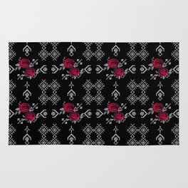 Ethnic red black pattern Rug