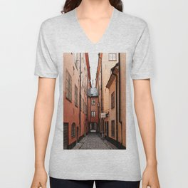 Stockholm, Sweden | Gamla Stan | old city centre | alley | old buildings | colored houses | bright colors | city print | travel photography | travel print | art print  Unisex V-Neck