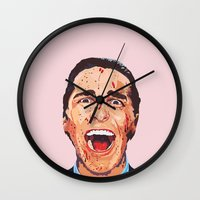 american psycho Wall Clocks featuring American Psycho by LookingForNikky