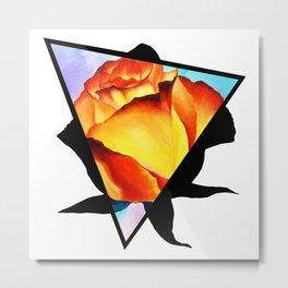 Fire Rose Triangle Metal Print