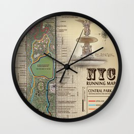 Central Park [Bethesda Fountain] Vintage Inspired running route map Wall Clock