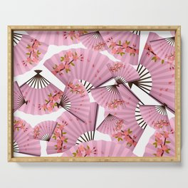 Japanese,Chinese fan pattern.Pink cherry blossom flower. Serving Tray