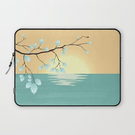 Delicate Asian Inspired Image of Pastel Sky and Lake with Silver Leaves on Branch Laptop Sleeve