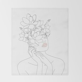 Minimal Line Art Woman with Magnolia Throw Blanket