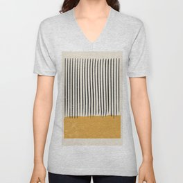 Mid Century Modern Minimalist Rothko Inspired Color Field With Lines Geometric Style Unisex V-Neck