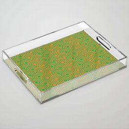 op art pattern retro circles in green and orange Acrylic Tray